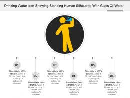 Drinking Water Icon Showing Standing Human Silhouette With Glass Of Water