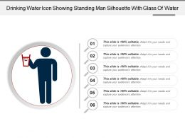 Drinking Water Icon Showing Standing Man Silhouette With Glass Of Water 1