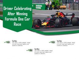 Driver Celebrating After Winning Formula One Car Race