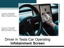 Driver In Tesla Car Operating Infotainment Screen