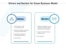 Drivers And Barriers For Green Business Model
