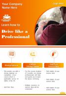 Drivers Training School Two Page Brochure Template