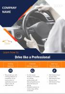 Driving School Promotion Two Page Brochure Template
