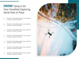 Drone Flying In Air Over Snowfield Capturing Aerial View Of Place