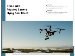 Drone With Attached Camera Flying Near Beach