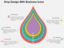 Drop Design With Business Icons Flat Powerpoint Design