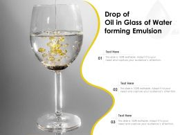 Drop Of Oil In Glass Of Water Forming Emulsion