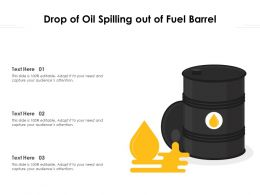 Drop Of Oil Spilling Out Of Fuel Barrel