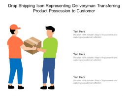 Drop Shipping Icon Representing Deliveryman Transferring Product Possession To Customer