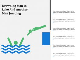 Drowning Man In Lake And Another Man Jumping