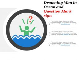 Drowning Man In Ocean And Question Mark Sign