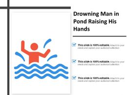Drowning Man In Pond Raising His Hands
