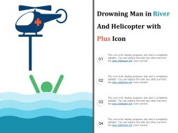 Drowning Man In River And Helicopter With Plus Icon