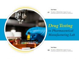 Drug Testing In Pharmaceutical Manufacturing Lab
