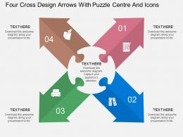 ds Four Cross Design Arrows With Puzzle Centre And Icons Flat Powerpoint Design