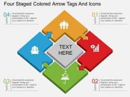 ds Four Staged Colored Arrow Tags And Icons Flat Powerpoint Design