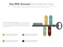 ds Key With Success Text And Four Tags Flat Powerpoint Design