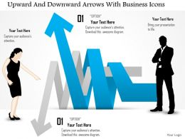 Ds Upward And Downward Arrows With Business Icons Powerpoint Template