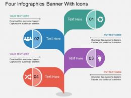 dt Four Infographics Banner With Icons Flat Powerpoint Design