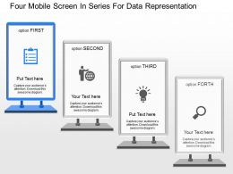 dt Four Mobile Screen In Series For Data Representation Powerpoint Template