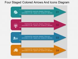 dt Four Staged Colored Arrows And Icons Diagram Flat Powerpoint Design