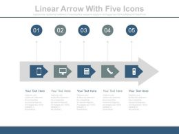dt Linear Arrow With Five Icons Flat Powerpoint Design