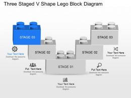Dt Three Staged V Shape Lego Block Diagram Powerpoint Template