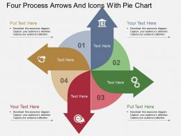 du Four Process Arrows And Icons With Pie Chart Flat Powerpoint Design