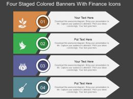 du Four Staged Colored Banners With Finance Icons Flat Powerpoint Design