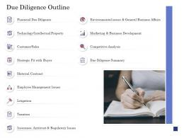 Due Diligence For Deal Execution Due Diligence Outline Ppt Summary