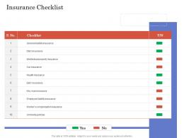 Due Diligence For Deal Execution Insurance Checklist Ppt Information