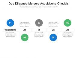Due Diligence Mergers Acquisitions Checklist Ppt Powerpoint Presentation Professional Portfolio Cpb