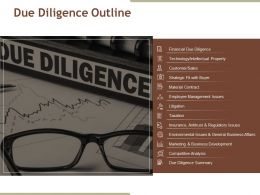 Due Diligence Outline Ppt Examples Professional