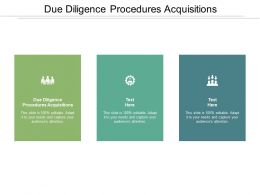 Due Diligence Procedures Acquisitions Ppt Powerpoint Presentation Portfolio Example Cpb