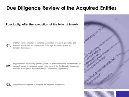 Due Diligence Review Of The Acquired Entities Accounting Ppt Powerpoint Slides