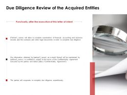 Due Diligence Review Of The Acquired Entities Financial Ppt Powerpoint Slides