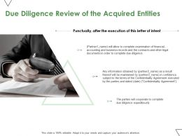 Due Diligence Review Of The Acquired Entities Ppt Powerpoint Presentation Summary Clipart