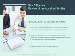 Due Diligence Review Of The Acquired Entities Teamwork Ppt Slides