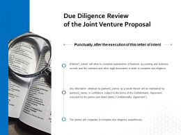 Due Diligence Review Of The Joint Venture Proposal Ppt Powerpoint Outline