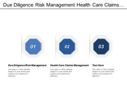 Due Diligence Risk Management Health Care Claims Management Cpb