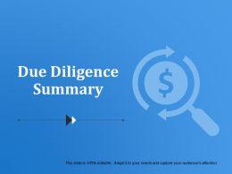 Due Diligence Summary Presentation Diagrams