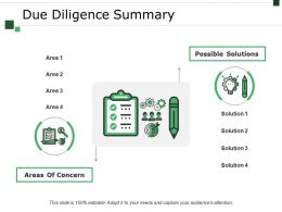 Due Diligence Summary Presentation Outline