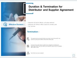 Duration And Termination For Distributor And Supplier Agreement Ppt Objects