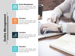 Duties Management Ppt Powerpoint Presentation Gallery Infographics Cpb