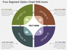 dv Four Segment Option Chart With Icons Flat Powerpoint Design
