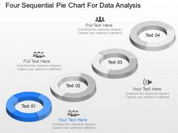 dw Four Sequential Pie Chart For Data Analysis Powerpoint Template