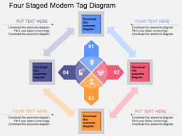 dw Four Staged Modern Tag Diagram Flat Powerpoint Design