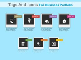 dw Seven Staged Option Tags And Icons For Business Portfolio Flat Powerpoint Design