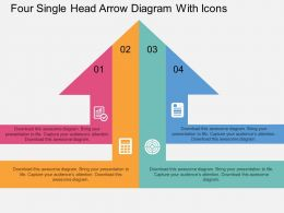 dx Four Single Head Arrow Diagram With Icons Flat Powerpoint Design
