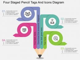dz Four Staged Pencil Tags And Icons Diagram Flat Powerpoint Design